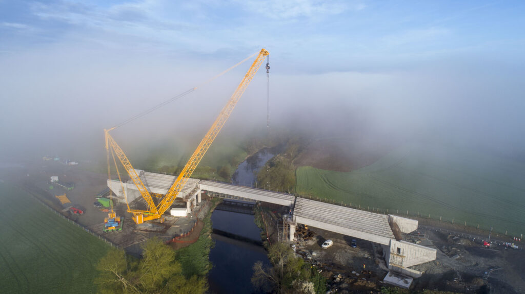 Aerial photo of bridge installation